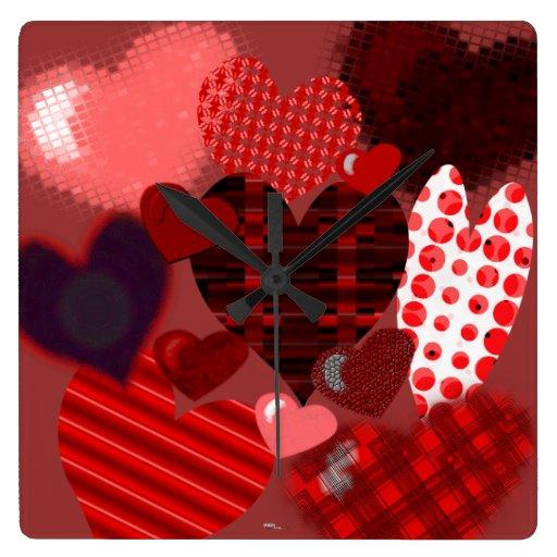 Collage texturizado del corazón reloj cuadrado