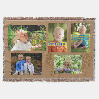 Collage Throw Blanket with YOUR 5 Photos