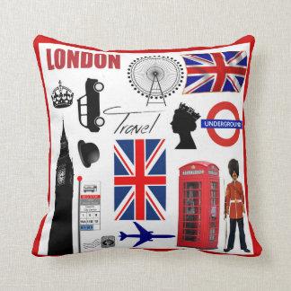 Collage Union Jack moderno del viaje de Londres Almohadas