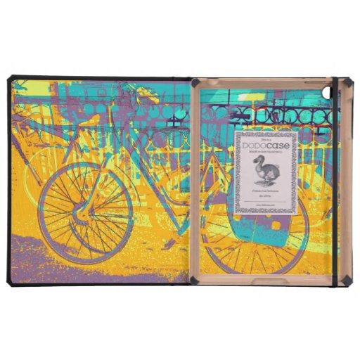 collage urbano vibrante de la bici iPad fundas