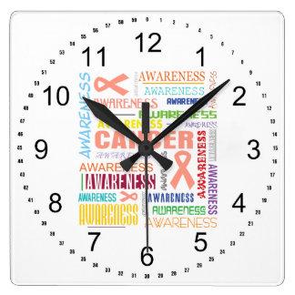 Collage uterino de la conciencia del cáncer reloj de pared