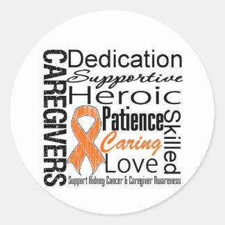 Collage v1 de los cuidadores del cáncer del riñón pegatinas redondas