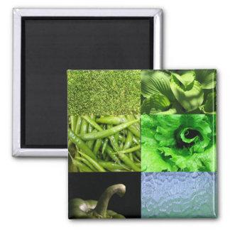 Collage verde de la foto imán cuadrado