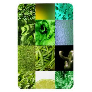 Collage verde de la fotografía imán rectangular