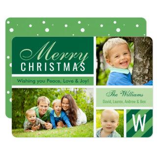 """Collage verde de la tarjeta de la foto de las invitación 5"""" x 7"""""""
