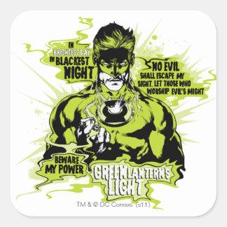Collage verde del texto de la linterna - color pegatina cuadrada