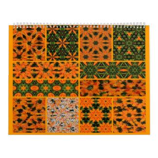 Collage verde y anaranjado del calendario de la
