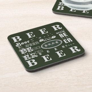 Collage verde y blanco de la cerveza posavaso