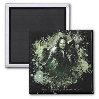 Collage verdoso del vector de Aragorn Imán Cuadrado