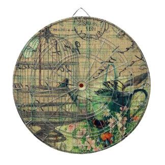 Collage w/Bird del vintage y jardín del Birdcage Tabla Dardos