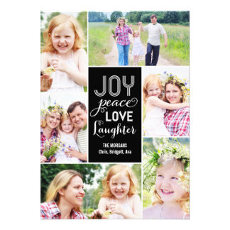 Collage Wishes Holiday Photo Card - Black Invite