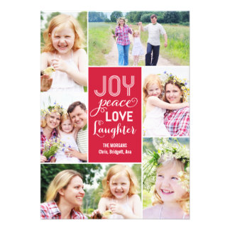 Collage Wishes Holiday Photo Card - Red Invitation