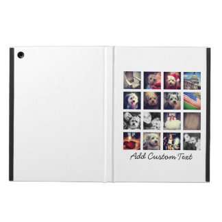 collage with 16 square photos - white background iPad air covers