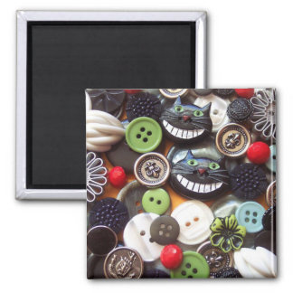 Collage with Black Cheshire Cat Buttons 2 Inch Square Magnet