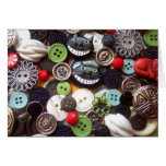 Collage with Black Cheshire Cat Buttons Greeting Cards