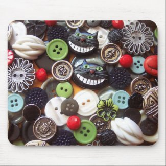 Collage with Black Cheshire Cat Buttons mousepad