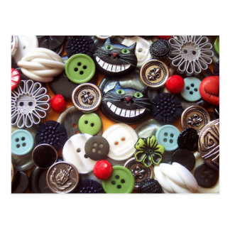 Collage with Black Cheshire Cat Buttons Postcard