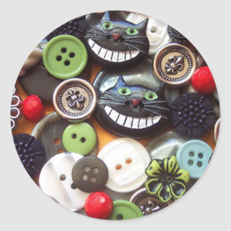 Collage with Black Cheshire Cat Buttons Round Sticker