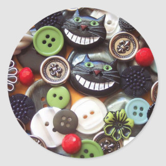 Collage with Black Cheshire Cat Buttons Sticker