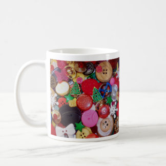 Collage with Christmas Tree Buttons Mugs