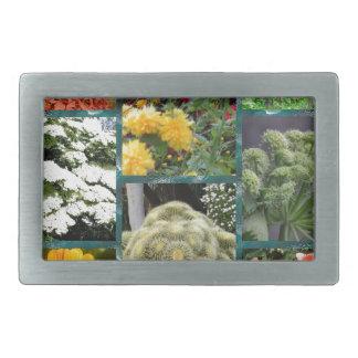 collage wonderful flowers and plants rectangular belt buckle