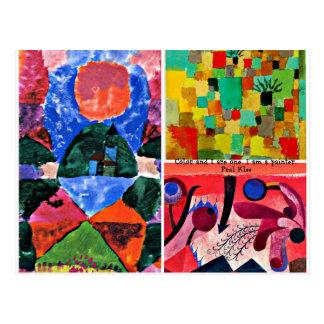 Collage y cita del arte de Paul Klee Postal