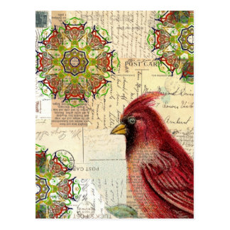 Collaged Old Letters and Postcards with Bird