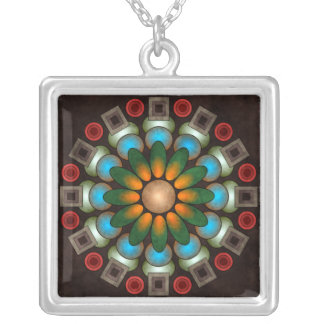 Collar abstracto floral lindo de la plata del arte