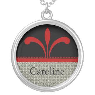Collar adaptable elegante floral, rojo oscuro