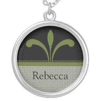 Collar adaptable elegante floral, verde verde oliv