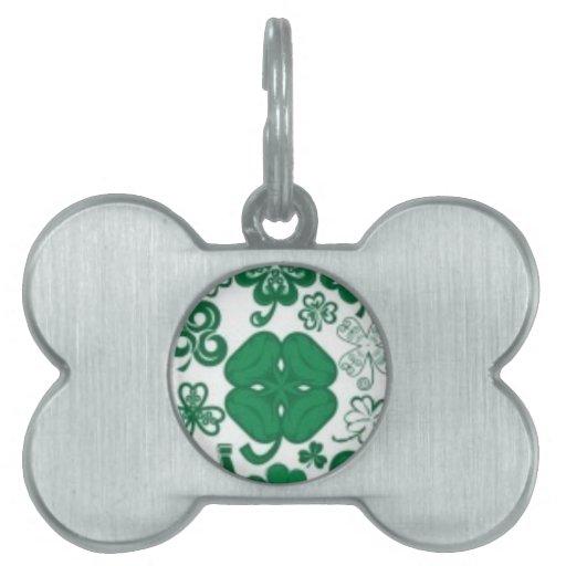 Collar afortunado de los encantos del trébol, lazo placas de mascota