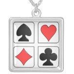 collar afortunado de los naipes de la plata esterl