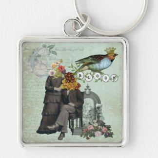 Collar alterado collage del arte de la flor del vi llavero cuadrado plateado