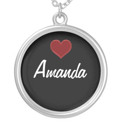 Collar-AMANDA-Sterling personalizado de plata se Colgante Redondo