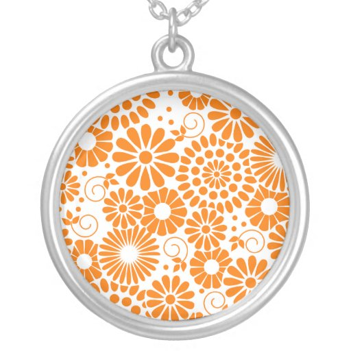 Collar anaranjado floral del vintage