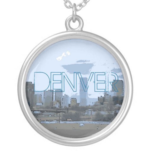 Collar artístico azul del horizonte de Denver Colo