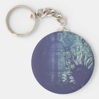 Collar azul de la paloma del Grunge del girasol en Llavero Redondo Tipo Pin