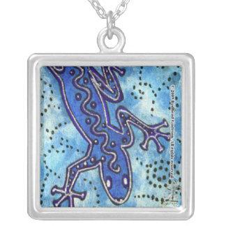 Collar azul del cuadrado del Gecko