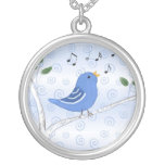 Collar azul del pájaro del canto lindo