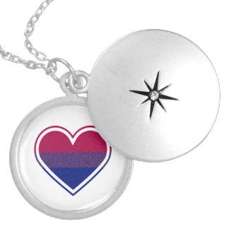 Collar bisexual del Locket del corazón del brillo