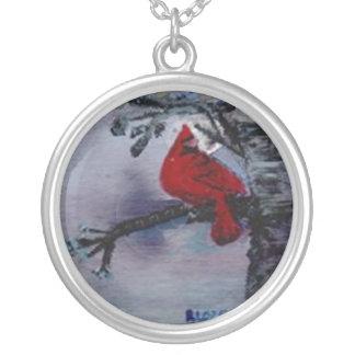 Collar cardinal plateado del encanto de la plata