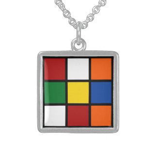 """Collar, Charm """"Squared """"/ Collar De Plata De Ley"""