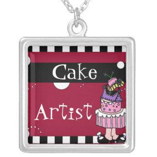 Collar/colgante del artista de la torta collar plateado