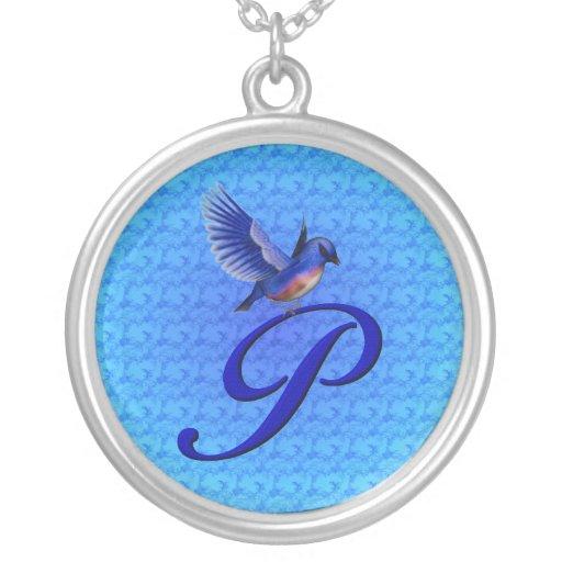 Collar con monograma del diseño del Bluebird de la