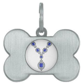 Collar de Bachelorette del zafiro Placa Mascota