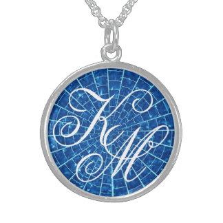 Collar de cristal de plata azul de la plantilla de