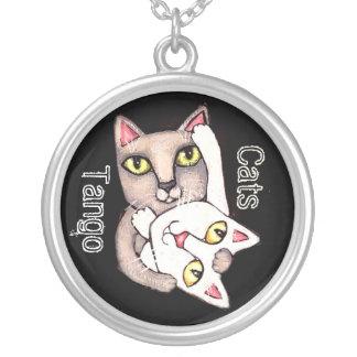 Collar de encargo de Sterling del arte de los gato