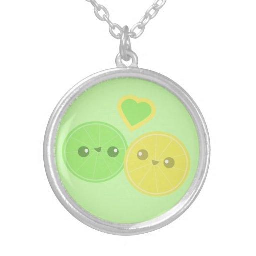 Collar de Kawaii del corazón de la cal del limón