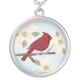 Collar de la acuarela del cardenal y del Dogwood