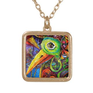 Collar de la bella arte - pájaro abstracto vivo